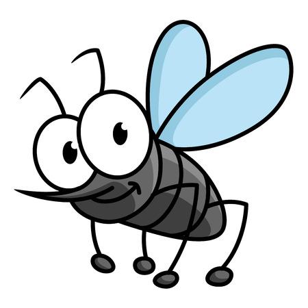 ぎょろ目と白い背景の分離長期曲がりテング面白い漫画蚊文字  イラスト・ベクター素材
