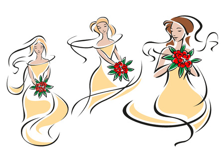 gowns: Silhouettes of pretty brides or bridesmaids in elegant beige wedding gowns with bouquets of bright red roses in hands for invitation or wedding ceremony  design Illustration