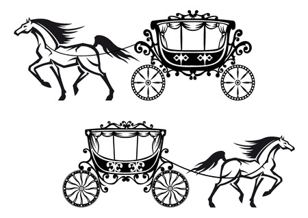 fairy  tail: Horses harnessed to a antique carriages with elegant curtains on the windows and floral elements on the roofs and doors for fairy tail or wedding design