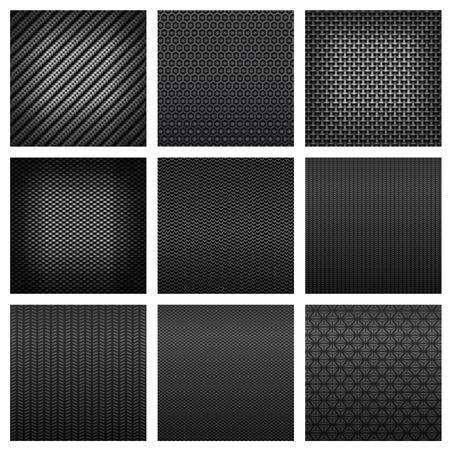 Carbon fiber naadloze patronen met donkere grijze stof texturen, verschillende soorten weefsel op een witte achtergrond geschikt voor luxe decor of moderne technologie ontwerp