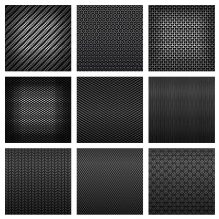 Carbon and fiber seamless patterns with dark gray fabric textures, different types of weave on white background suited for luxury backdrop or modern technology design Vectores