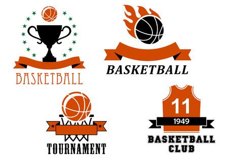 Basketball club en toernooi embleem templates waaronder basketbal bal met vlam, uniforme jersey, trofee beker, bal in de mand, versierd lint banners en sterren