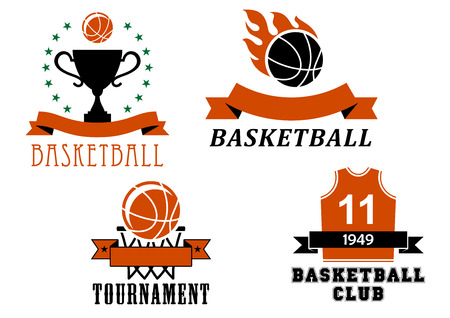 Basketball club and tournament emblem templates including basketball ball with flame, uniform jersey, trophy cup, ball in basket, decorated ribbon banners and stars