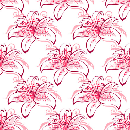 stamens: Vintage floral seamless pattern of pink and purple lilies with curved spotted blossoms and long stamens surrounded abstract floral swirls on white background for wallpaper or fabric design Illustration