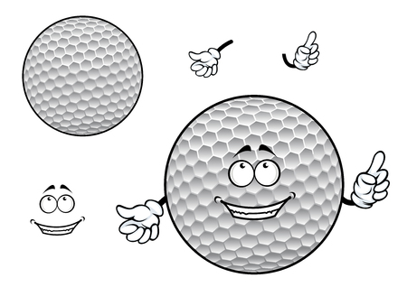 Happy smiling white golf ball cartoon character with symmetric dimpled pattern for sporting mascot design Vector