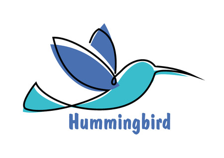 soaring: Soaring hummingbird symbol or emblem design with abstract colibri little bird in shades of blue Illustration