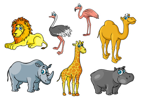 camels: Сute cartoon african wild animals and birds characters including lion, giraffe, flamingo, hippo, camel, rhino, ostrich for savannah wildlife concept Illustration
