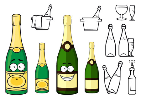 toasting wine: Cartoon champagne bottles characters with golden luxury labels and cheerful smiles isolated on white background with glasses, buckets, corkscrew and bottles icons
