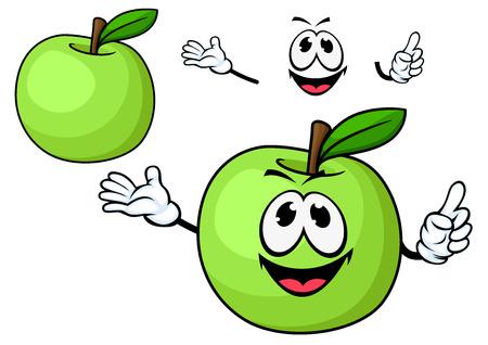 manzana verde: Personaje de dibujos animados fruta madura jugosa manzana verde con hojas de color verde brillante en el tallo seco y juguetona sonrisa para el dise�o de alimentos naturales