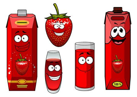 filled: Happy strawberry juice packs cartoon characters showing bright red cardboard containers, juicy garden berry and filled glasses isolated on white background for beverage design Illustration
