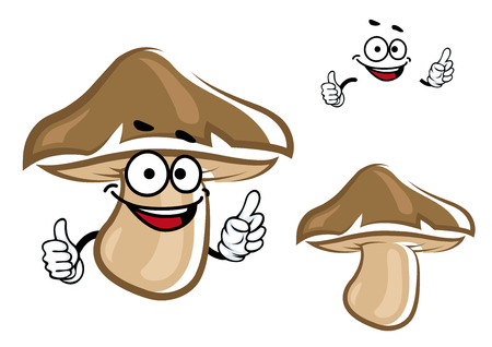 cartoon mushroom: Cartoon brown forest mushroom character with funny smile and separate face elements