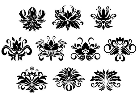 Retro floral and foliage design elements with abstract black flowers, drop shaped petals, curly tendrils and leaves curlicues