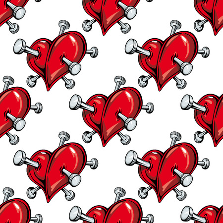 pierced: Cartoon red hearts pierced by nails seamless pattern on white background for love or broken heart concept design Illustration