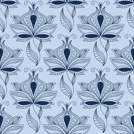 Indian ethnic floral seamless pattern in shades of blue with airy lace flowers in paisley style, petals and leaves curlicues for fabric or interior design Illustration