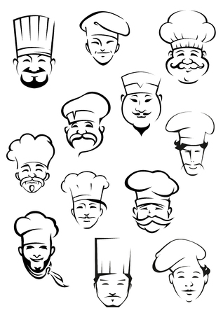commercial kitchen: Professional chefs portraits showing multiethnic smiling mature and young mustached men in traditional toques for kitchen personnel or restaurant design