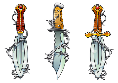Ancient daggers with curved blade edges, carved handles and barbed wire in cartoon style for tattoo design Vector