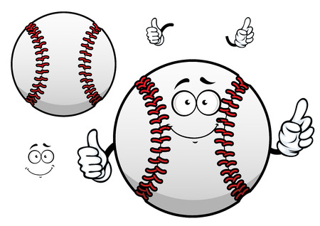 baseball: Happy cartoon white baseball ball character with raised red stitches showing thumb up gesture for sporting mascot or tournament design