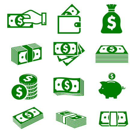 stack: Green paper money and coins icons isolated on white background for business nad commerce design