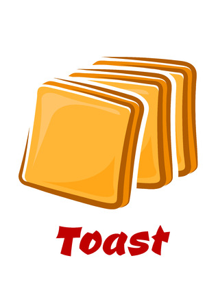 toasted bread: Toasted bread slices with golden crisp in cartoon style isolated on white background with red caption Toast suited for traditional breakfast or food design Illustration