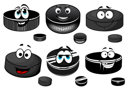 ice hockey puck: Black ice hockey rubber pucks cartoon characters with happy smiling faces for sporting mascot design