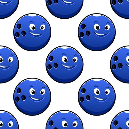 bowling: Bowling game seamless pattern with cartoon happy bright blue bowling ball characters on white background for textile or wrapping design