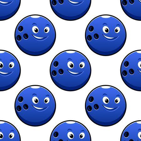 bolos: Bowling juego sin patr�n, con personajes de dibujos animados feliz bola de bowling azules brillantes sobre fondo blanco para la industria textil o envoltura de dise�o