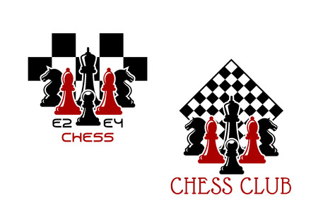 chess king: Chess club sport emblems or symbols with chessmen ant turned chess board Illustration