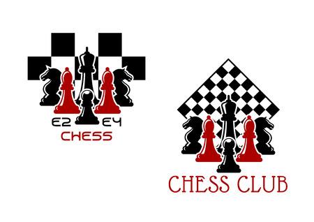 caballo de ajedrez: Emblemas deportivos del club de ajedrez o símbolos con hormigas piezas de ajedrez se volvieron tablero de ajedrez