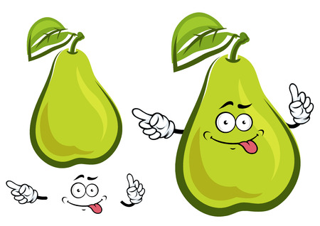 broad leaf: Cartoon funny pear fruit character with broad oval leaf and green yellow skin for agriculture or food design