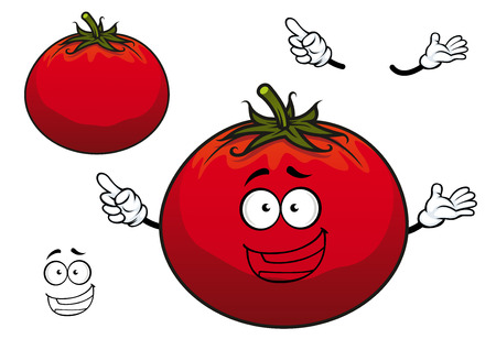 plump: Happy cartoon red tomato plump vegetable character with wavy green stalk on the top for agriculture or vegetarian design