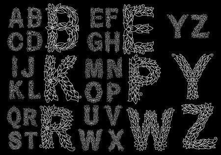 aerate: Floral schema alfabeto con lettere maiuscole ariose costituiti da foglie cordate, fiori e viticci intrecciati su sfondo nero per la decorazione d'epoca o un libro di design Vettoriali