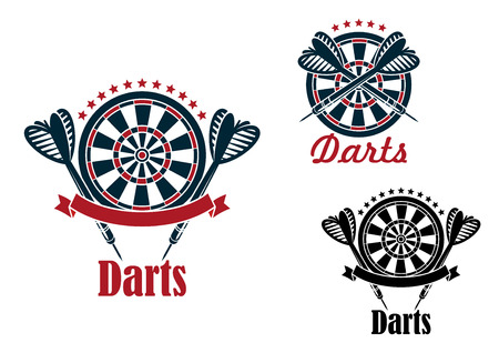 Darts sport game emblems and symbols with target, dart, ribbon and text Illustration