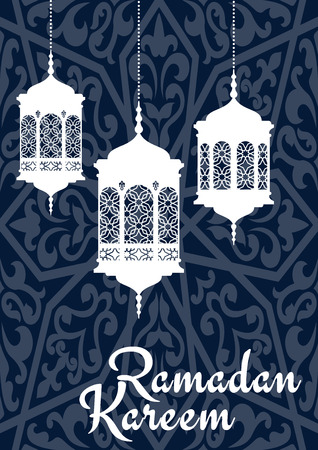 Ramadan Mubarak greeting card template with oriental lantern white silhouettes and wishes Ramadan Kareem on blue arabic seamless pattern