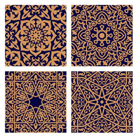 indigo: Geometric arabic seamless patterns with orange ornament and interlacing foliage elements on dark indigo background for religion or tile design Illustration