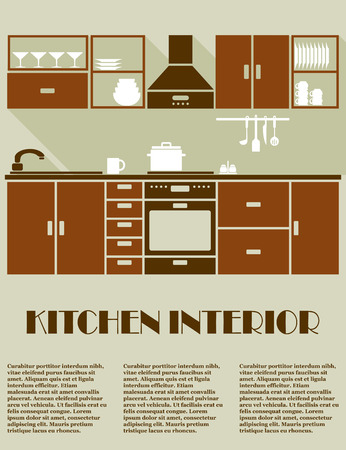 Modern kitchen interior in brown colors with modular cabinets, appliance, shelves and rack with utensils and editable text space for furniture catalog or apartment design Vector