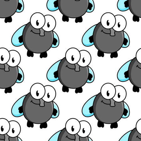 googly: Funny fly cartoon characters seamless pattern with googly eyes and tiny blue wings on white background