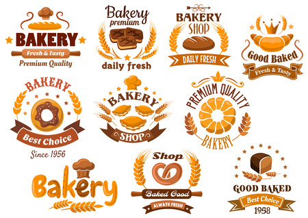 bakery products: Bakery shop emblem designs depicting different kinds of fresh bakery products and pastry decorated wheat ears, stars, toque, crowns and ribbon banners with various headers
