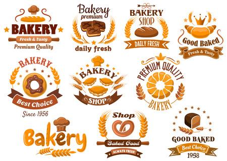 logo de comida: Diseños emblema panadería que representan diferentes tipos de productos frescos de panadería y pastelería decorada espigas de trigo, las estrellas, el toque, coronas y banderas de la cinta con varias cabeceras Vectores