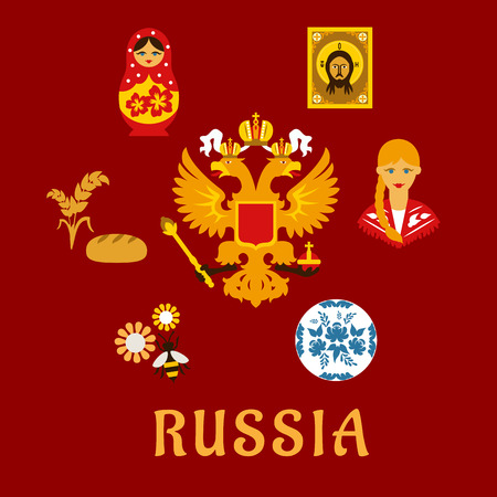 matryoshka doll: Russian traditional flat symbols depicting national doublehead eagle surrounded by ceramic gzhel dish, girl in national costume, religious icon, matryoshka doll, wheat ears with bread and bee on flowers with caption Russia