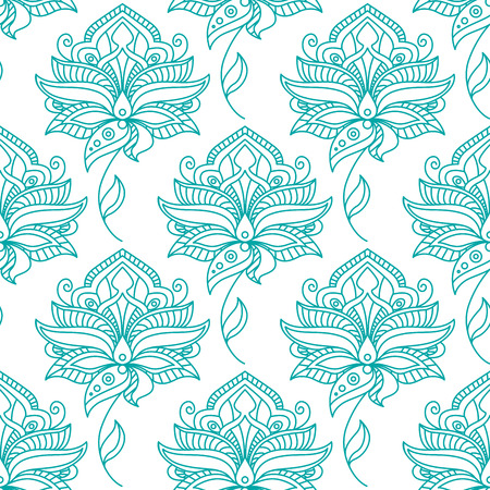 feathery: Seamless persian outline blue flowers on winding leafy stalks pattern with feathery lush petals on white background for wallpaper or textile design