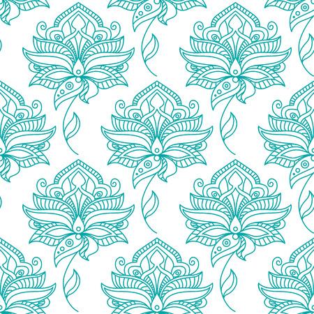 tollas: Zökkenőmentes perzsa vázlat kék virágok kanyargós leveles szárak minta tollas buja szirmú fehér háttér tapéta vagy textil design