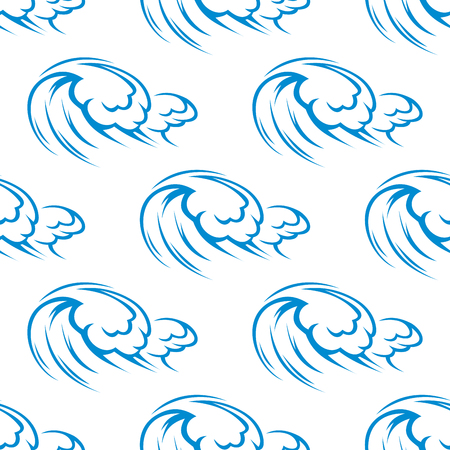 stormy: Seamless pattern of sketched blue waves in stormy ocean on white background