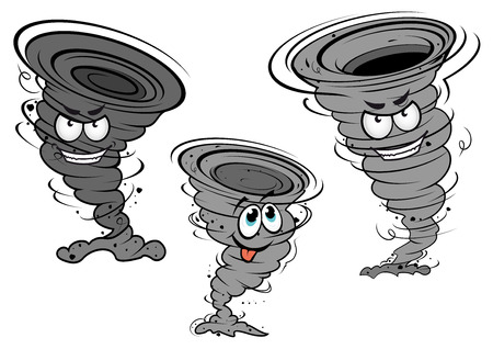 Cartoon dark gray tornado and cyclone characters with angry faces and funny teasing phiz for wheather concept or mascot design