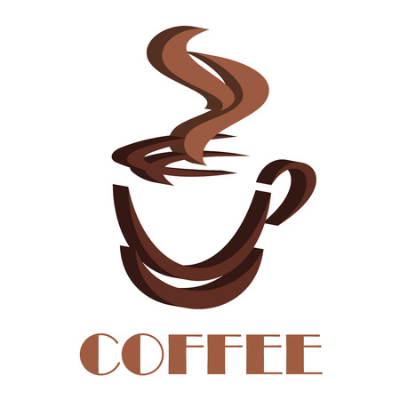 fas: 3D steaming coffee cup symbol with dark and light brown colors for fas food or drink design