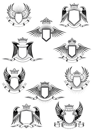Heraldic coat of arms templates with medieval winged shields decorated royal crowns and blank ribbon banners