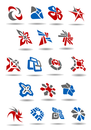arcs: Abstract icons or emblem design elements composed of various geometric shapes, arcs and arrows with shadows for business card or corporate template