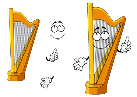 Cartoon yellow harp character showing polished wooden classic musical instrument with cute smiling face