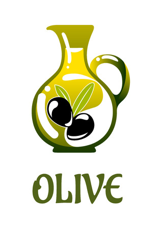 oily: Glass jar with olive oil and black olives isolated on white background Illustration