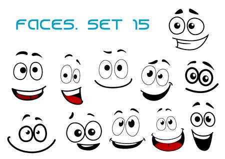 volti: Ridendo e denti sorridenti facce buffe con grandi occhi finti in cartone animato stile fumetto per caricatura umorismo o avatar progettazione