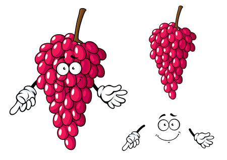 포도 수확: 흰색 배경에 고립 연장 반짝 딸기와 어두운 붉은 포도 열매 문자의 달콤한 만화 무리